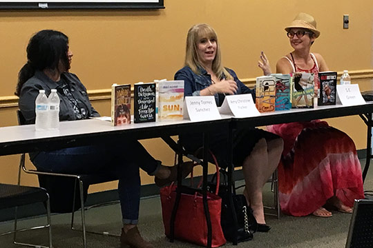 Three local authors on a discussion panel