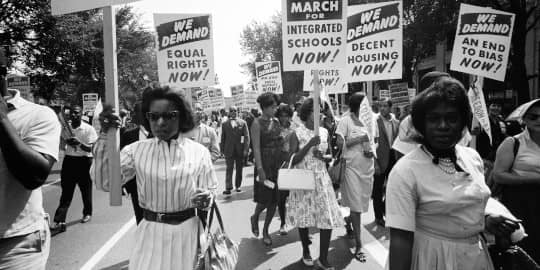 Civil rights marchers in 1962
